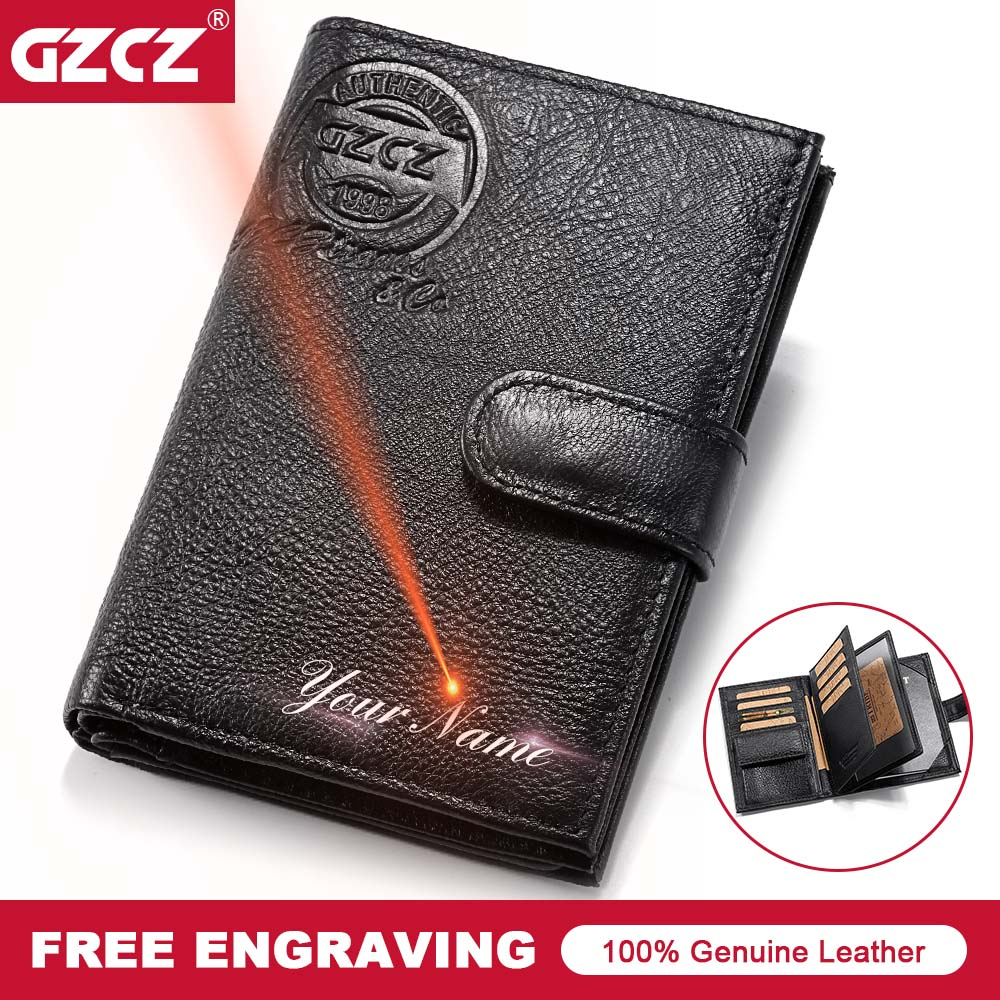GZCZ Men Genuine Leather Wallet Travel Passport Cover Case Document Holder Large Capacity Credit Card Holder Coin Purse etya bank credit card holder card cover