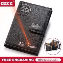 GZCZ Men Genuine Leather Wallet Travel Passport Cover Case D
