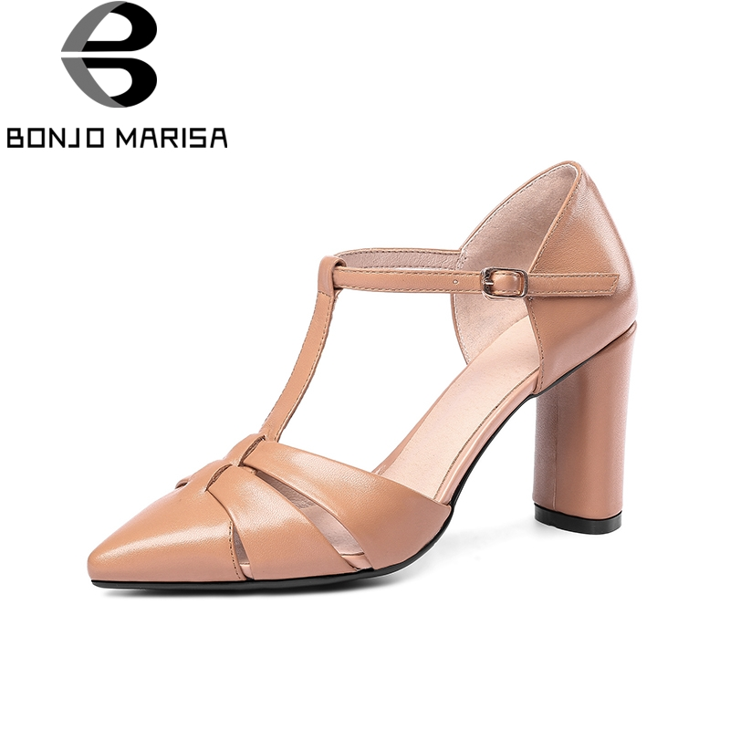 BONJOMARISA 2018 Top Quality Big Size 33-43 Genuine Leather Summer High Heels Sandals Shoes Women Sexy Party Woman Shoes karinluna best quality crystals brand big size 34 43 sexy high heels summer sandals shoes women party woman shoes