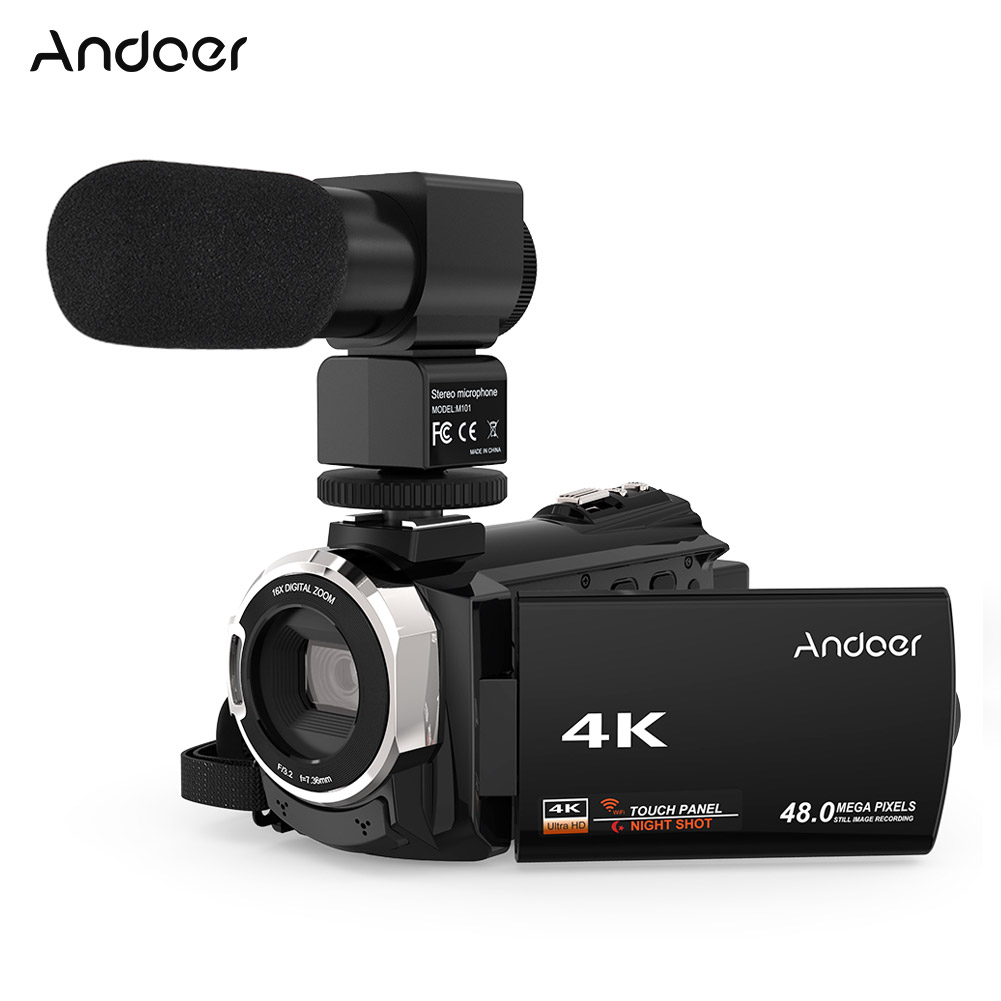 Andoer 4K 1080P 48MP WiFi Digital Video Camera Camcorder Recorder with External Microphone Novatek digital camera