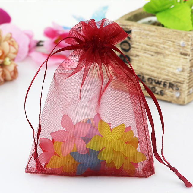wholesale 100pcslot dark red organza bags 9x12cm small christmas gift bag wedding favor candy - Small Christmas Gifts