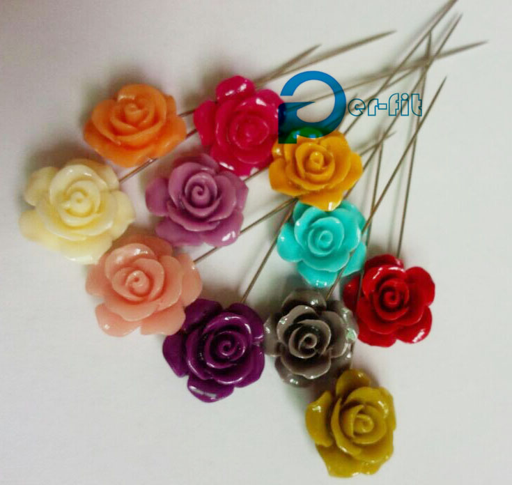 rose hijab pins 15MM flower scarf pins muslim abaya khaleeji fix safety pins 60pcs/lot mix 8 colors free ship