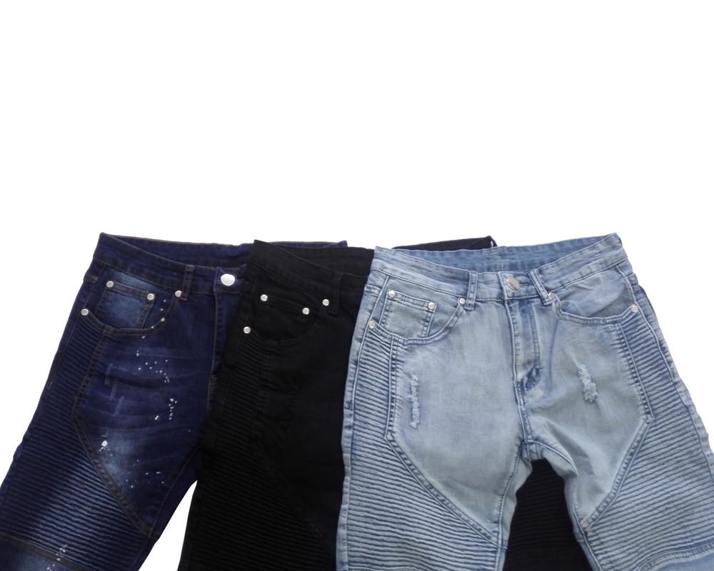 Männer Jeans Runway Schlank Racer Biker Jeans Mode Hiphop Skinny ... 7a2e6d949a