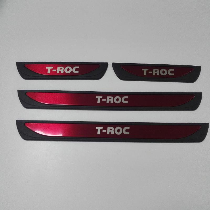 For Car-Styling Accessories Vw Volkswagen T-Roc T Roc Door Sill Scuff Plate Guard Stainless Protector Car Styling Sticker 2018 car styling for nissan qashqai j11 2017 2018 accessories 2015 2016 door sill sills scuff plate guard pedal protector car sticker