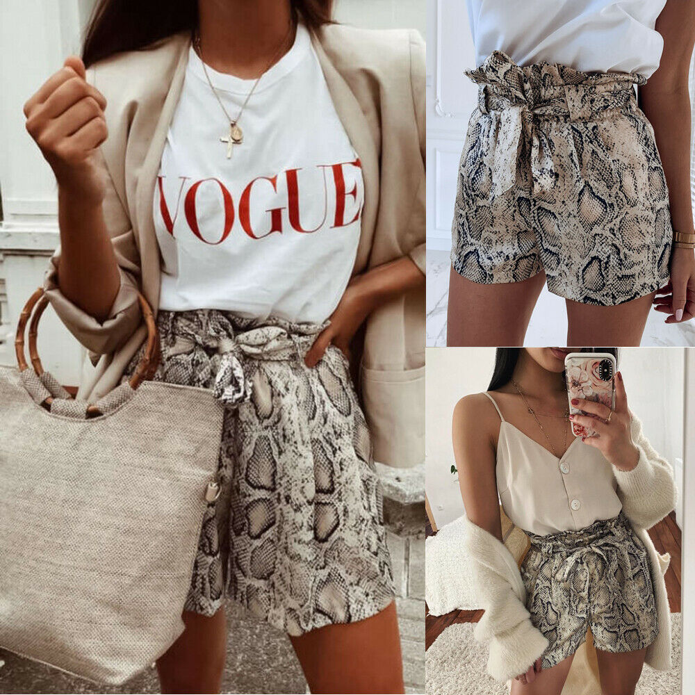 2019 Sexy Womens High Waist Tie Belt Shorts Ladies Summer Fashion Snakes Print Hot Short Trouser NewSell