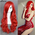 High Quality Sexy Lady Jessica Rabbit Cosplay Wig Red Long Wavy Curly Anime Cosplay Heat Resistant Wig for Women Halloween Wig