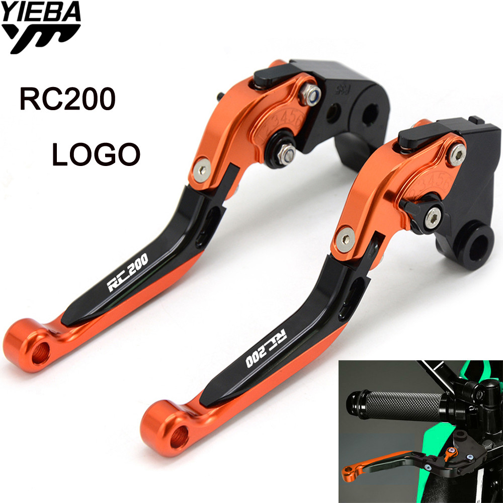 RC200 LOGO Motorcycle CNC Brake Levers Handle Adjustable Brake Clutch Levers For KTM RC200 RC 200 200 DUKE 200DUKE 2014 2015 universal orange moctorcycle 7 8 brake master cylinder reservoir clutch levers hydraulic for ktm 200 duke rc200 125 300cc