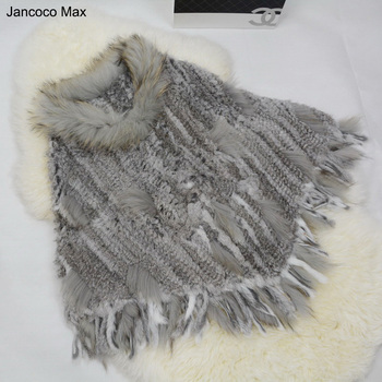 Jancoco Max Wholesale / Retail  New Women Real Rabbit Fur Knitted Poncho Raccoon Dog Fur Collar With Tassel S1202