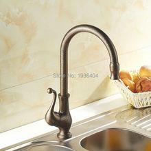Кухня поворотный Faucets одной ручкой краны античный римский латунь готовые на бортике поворотный смесители мода кран RB1007