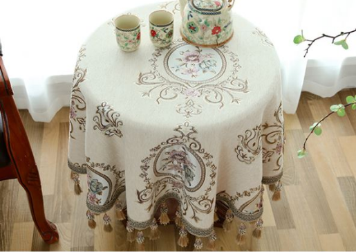 Europe Style Elegant Printing Round Table Cloth Blended Round Household Coffee Table Cover Round Table Living Room TableclothsEurope Style Elegant Printing Round Table Cloth Blended Round Household Coffee Table Cover Round Table Living Room Tablecloths