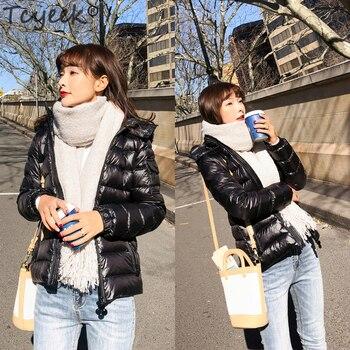 Tcyeek Women Winter Duck Down Coat Female Short Slim Down Parkas 90% White Duck Down Jacket Women Casual Outwear Jackets LWL1186