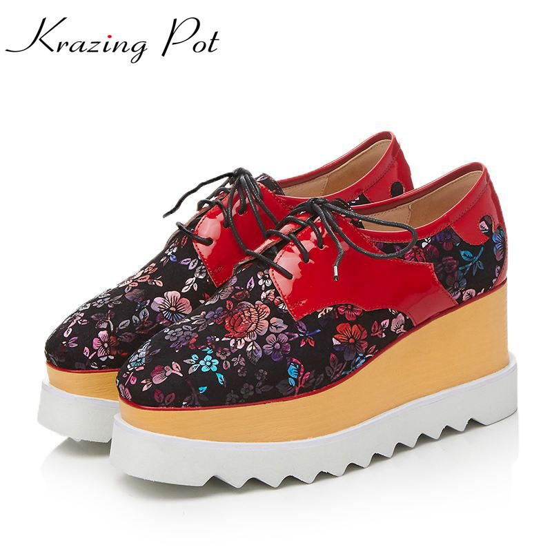 Krazing Pot genuine leather sheep suede shoes women square toe embroidery women pumps wedge superstar beauty increased shoes L52 krazing pot genuine leather sheep skin thick high heels square toe zipper boots women superstar party western mid calf boots l17