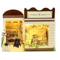 Casa di Bambola di legno Panetteria con Piccolo Set di Mobili In Miniatura 3D Puzzle FAI DA TE Kit Dollhouse Miniaturas Modello Per La Decorazione Giocattolo
