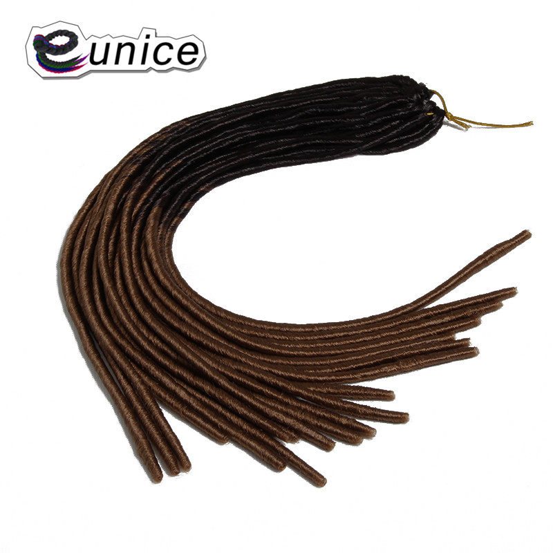EUNICE Hair 5PACKS 20Strands Synethetic Faux locs BraidS Soft Crochet Hair Two Tone Ombre T1B/Pink/blond/BUG/RED Braiding Hair
