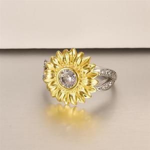 Image 2 - Женское кольцо с подсолнухом DALARAN, кольцо из серебра 925 пробы с блестящим цирконием, украшения на свадьбу и годовщину