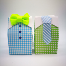 10pcs Candy Box Gift Blue Green Bow Tie Bag Happy Birthday Party Decoration Boy Baby Show Packaging