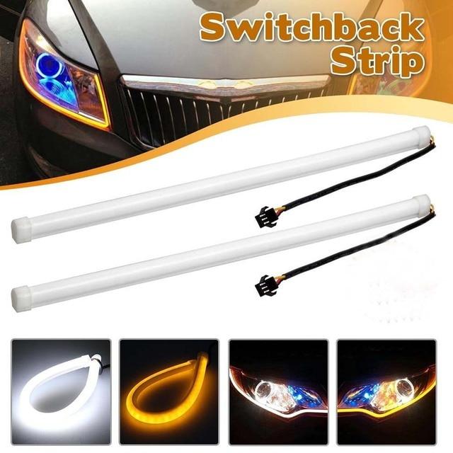 Yushuangyi 2 stücke 60 CM Weiß/Amber Switch Auto DRL Led ...