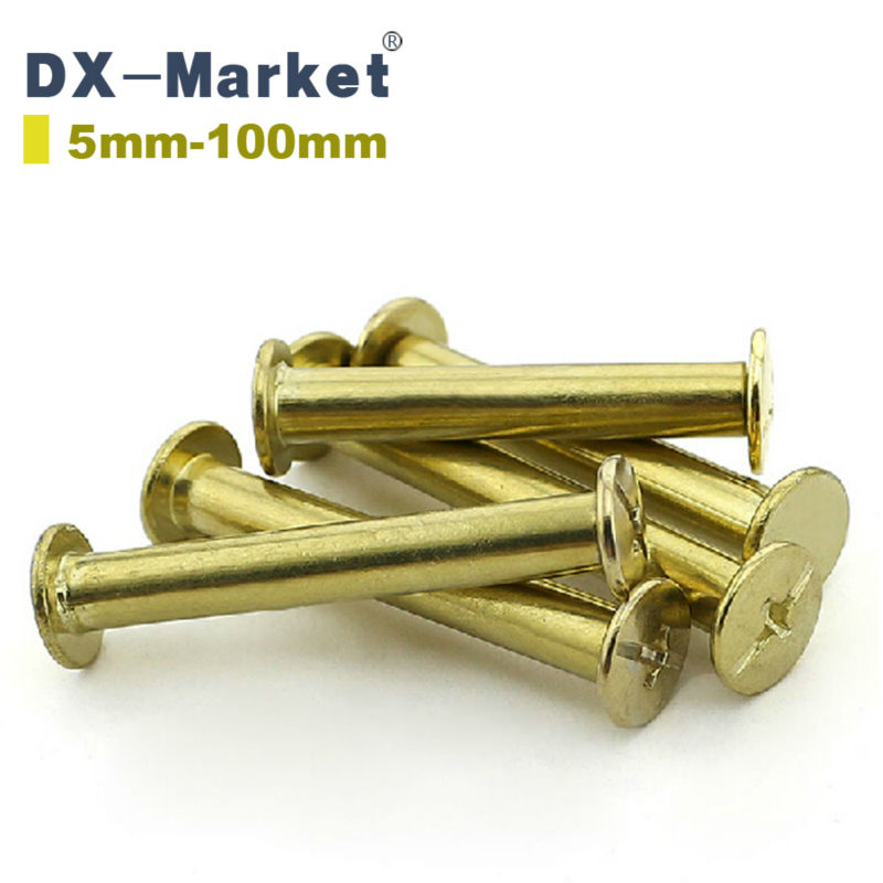 M5*6mm-M5*100mm Album Purse Brass Plated Binding Chicago Screw Leather Rivets