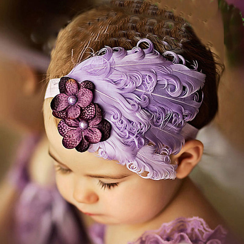 1 Pcs Kids Headbands Feather Elastic Hair Band Girl Headwear Accessories Bowknot Kids Hairbands Art Hairdressing Headband shanfu women zebra stripe sinamay fascinator feather headband fashion lady hair accessories blue sfc12441