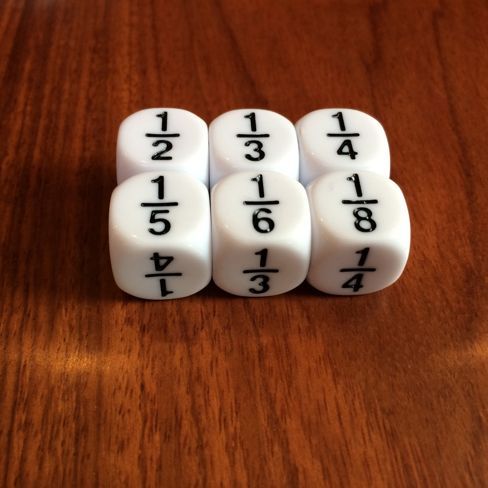 8Pcs/set 16MM Rounded Fraction Dice 1/2 1/3 1/4 1/5 1/6 1/8 For Math Teaching Accessory