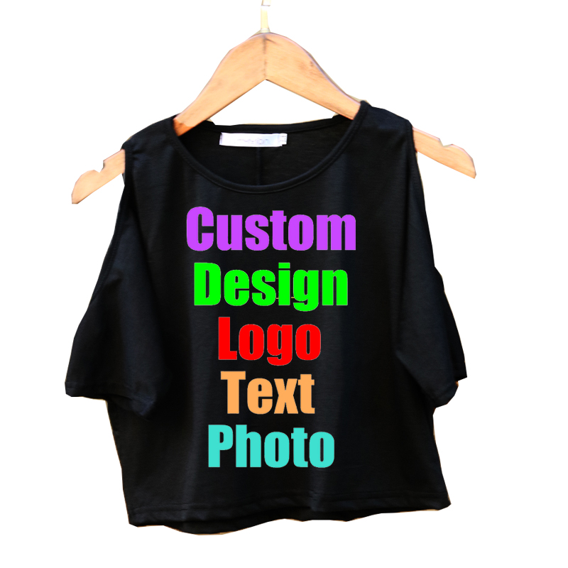 Solid Sexy Female Summer Women T shirt Off Shoulder Femme Crop Tops Custom Logo Photo Text Printed Tees Shirts Short Sleeve Top