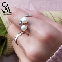 Authentic 925 Sterling Adjustable Silver Jewelry White Double Pearl Rings Natural Pearl Silver Wedding Rings for Women Gift 2019 elegant blazer women long sleeve jackets coats office lady outwear casual korean fashion female outfit clothing autumn 2020