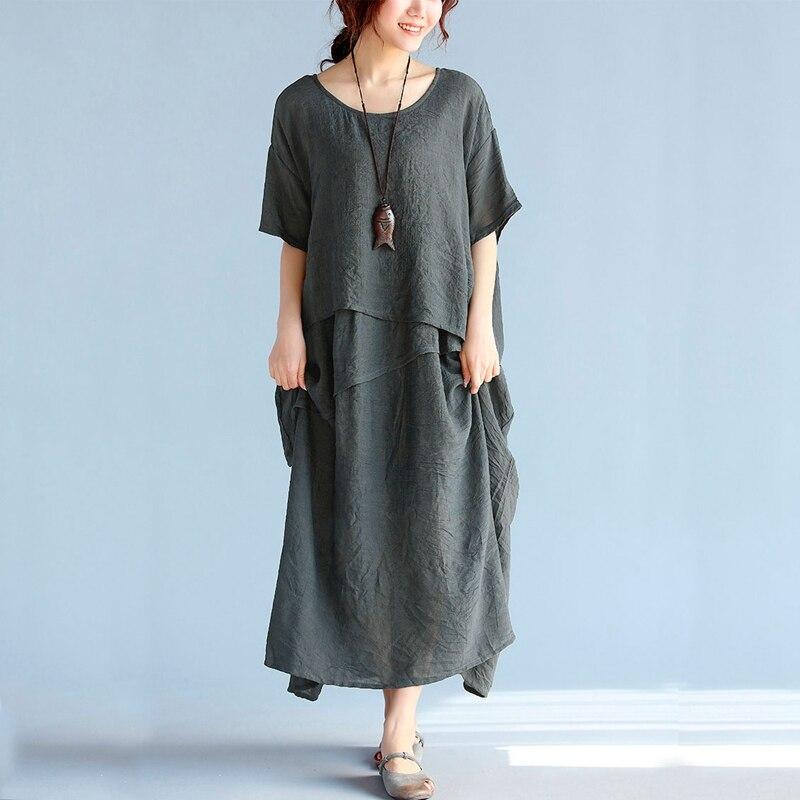 87c82a5a03 Clobee Summer Dresses Tunic Femme Oversized Cotton Linen Beach Dress  Vestidos Largos De Verano sundress large sizes robe chemise-in Dresses from  Women s ...