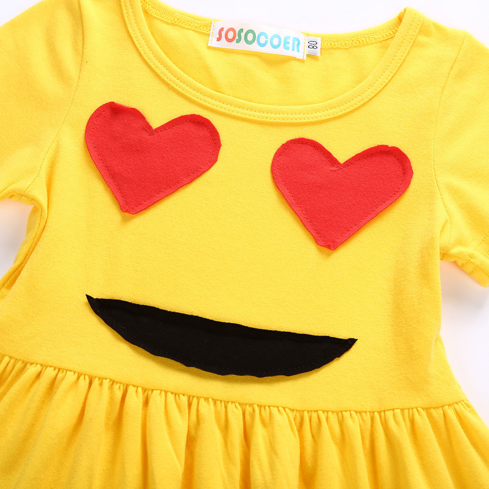 74d99d408 New Arrival Cute Toddler Infant Kids Baby Girls Dress Emoji Emoticon ...