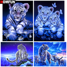 HOMFUN Full Square/Round Drill 5D DIY Diamond Painting Animal tiger Embroidery Cross Stitch Home Decor Gift