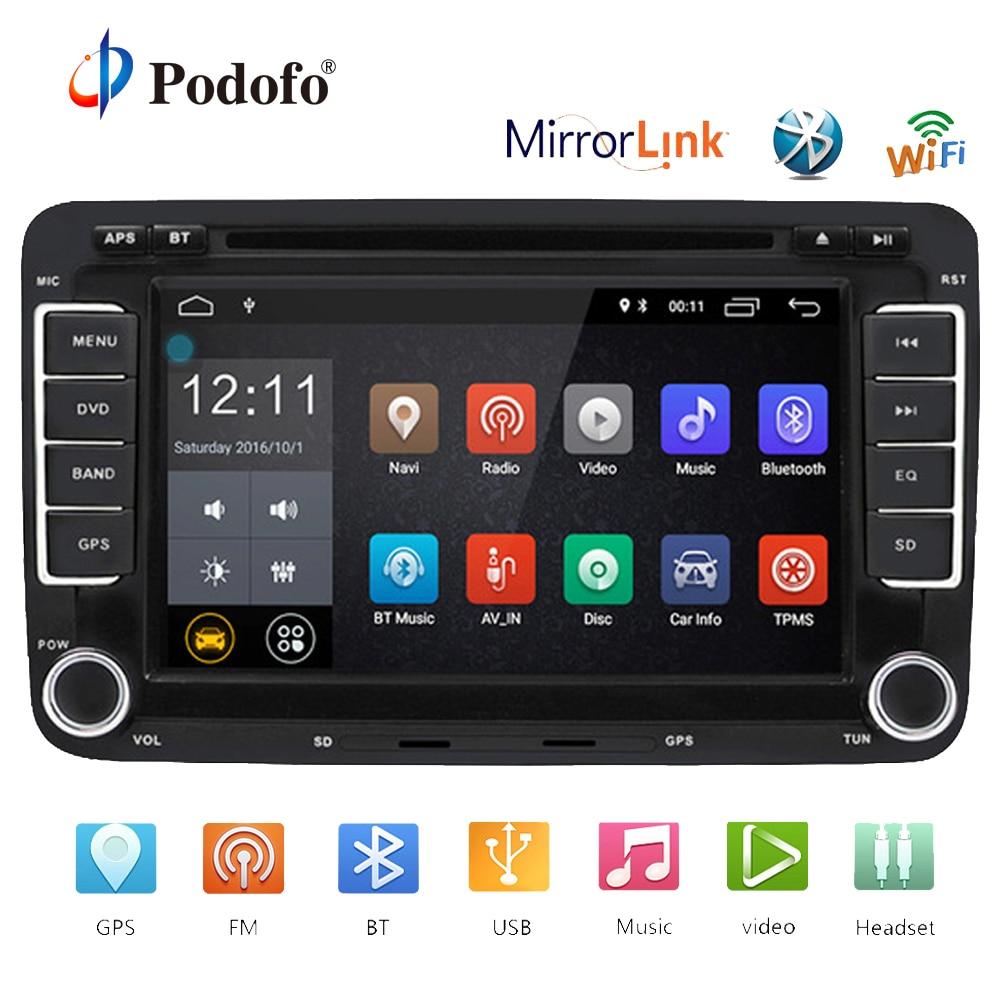 Podofo Voiture Lecteur Multimédia Android GPS 2 Din Voiture Auto Radio Pour Volkswagen/Passat/POLO/GOLF/ skoda/Siège/Leon Radio Wifi