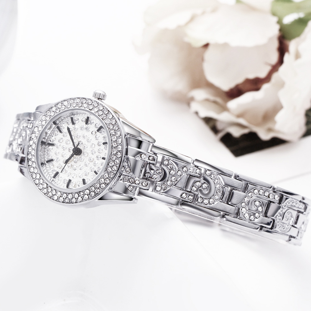 Full Crystals Elegant Ladies Watch Luxury Wrist Bracelet Watches for Women Stones Dial Roman Index Christmas Gift free shipping 6