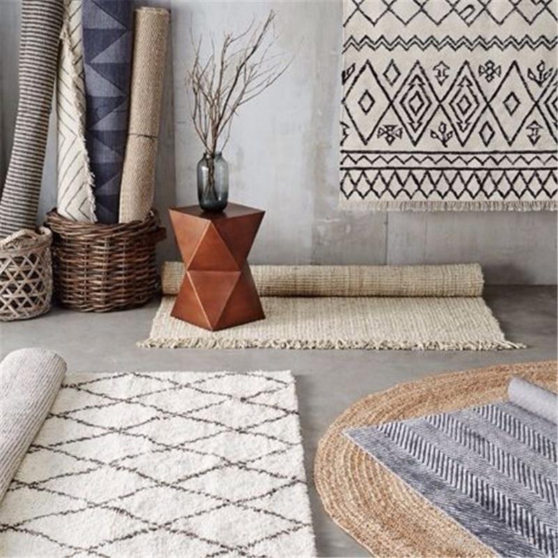 INS Kilim fait main maroc tapis pour salon géométrique bohême indien chambre tapis Plaid rayé noir blanc Design nordique - 2