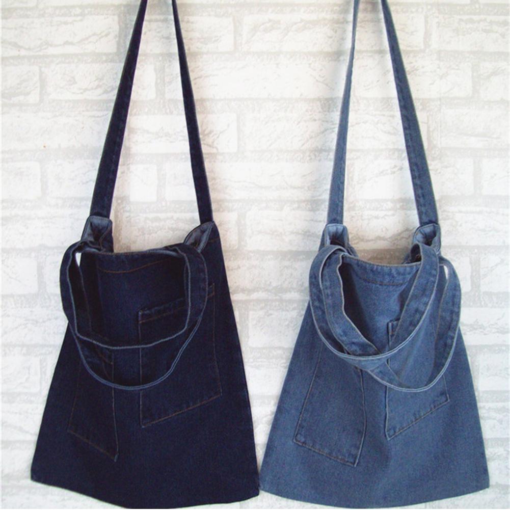 € 6.22 38% de DESCUENTO|Bolsos de mano de mujer bolso de lona de mensajero bolso de tela vaquera de moda de Arte de compras mamá hombro mensajero azul