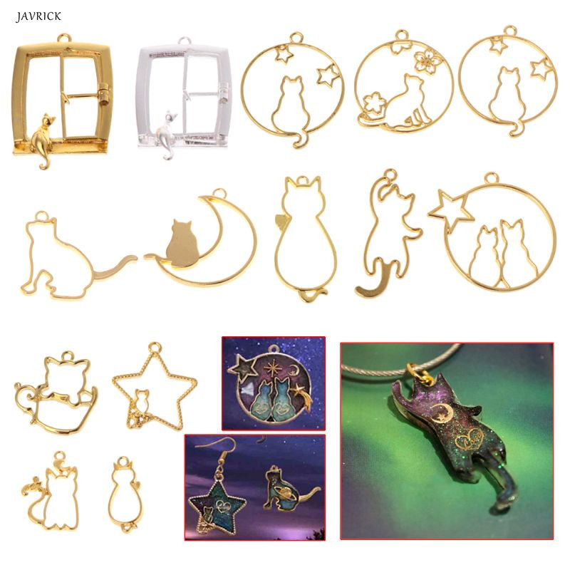 14 Pcs/Set DIY Epoxy Resin Crafts Metal Frame Cat Kitten Moon Shape Cartoon Jewelry Pendant Necklace UV Resin Material Handmade