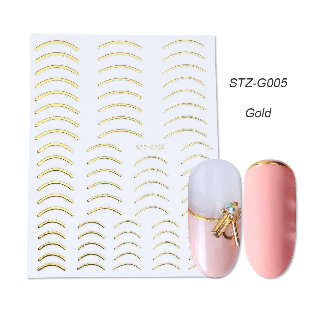 1 шт золотые Серебристые 3D наклейки для ногтей прямые изогнутые вкладыши полосы ленты обертывания геометрический дизайн ногтей украшения BESTZG001-013 - Цвет: STZ-G005 Gold