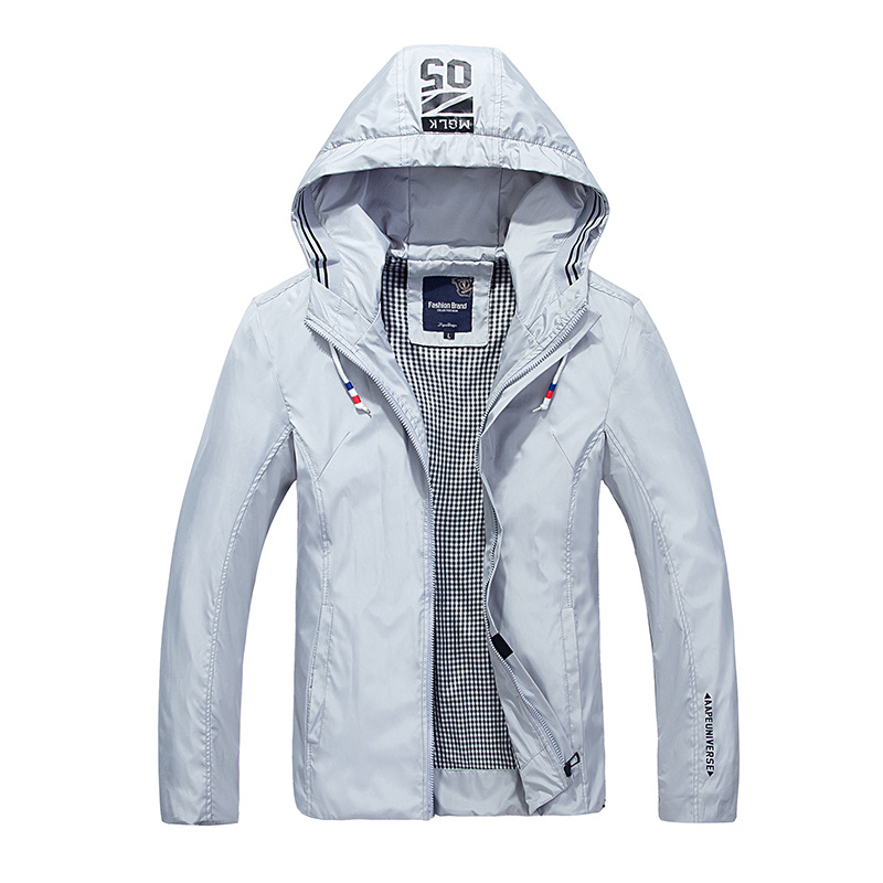 The new 2018 men hooded jacket pure color leisure coat