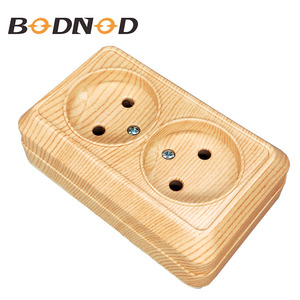 New Socket New Double Socket Without Earth Wall Socket European 250V 16A Power Wall Mount Charger Wood Grain Legrand Schneider(China)