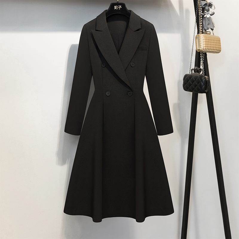 New Autumn Fashion Elegant Double Breasted Woman Outwear Slim Waist Long Trench Coat Solid Color Black Female Windbreaker