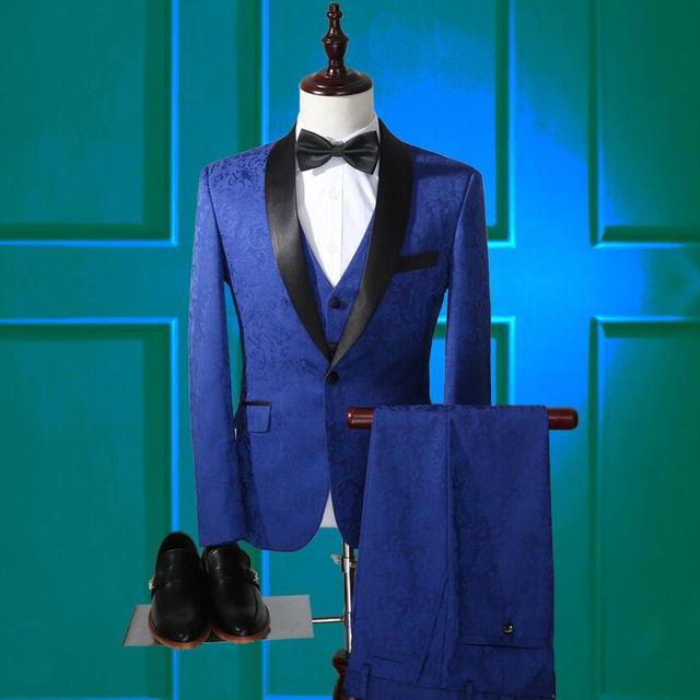 (Jacket + Pants + Vest) Jacquard de Alta Qualidade Da Marca dos homens Ternos Blazers Slim Fit ternos de Negócio Formal Do Noivo casamento Smoking do baile de Finalistas do Sexo Masculino