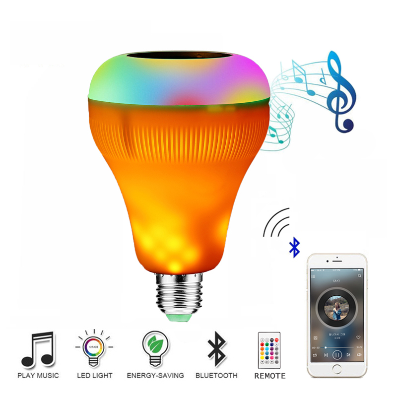E27 Bluetooth Speaker Flame Bulb Smart Wireless Music Player Decorative Flame Lamp LED RGB Dimmable Audio Flickering Flame Light kmashi led flame lamp night light bluetooth wireless speaker touch soft light for iphone android christmas gift mp3 music player