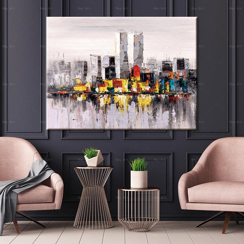 HD Canvas Painting Print Urban Scenery River Reflected Wall Art Home Decoration for Living Room