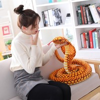 1pc 210cm simulation snake realistic image cobra Plush toy soft animal stuffed doll trick funny gift christmas For child girl