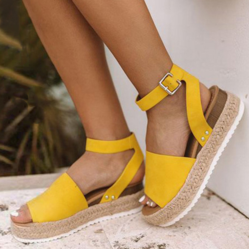 MCCKLE Women Leopard Sandals PU Leather Ankle Buckle Peep Toe Flat Platform Female Shoes Summer Thick Bottom Plus Size Footwear