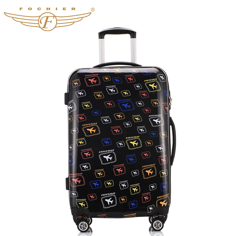 1 Piece 20 24 28 Hardside ABS PC Lightweight Travel Rolling Luggage Suitcase Air craft Printing