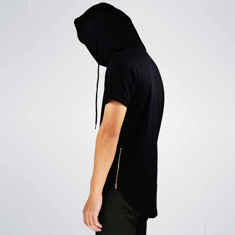 Новое поступление мужская хипстерская хип-хоп толстовка с коротким рукавом на молнии сбоку Футболка мужская толстовка с коротким рукавом s с капюшоном дизайн длинные толстовки