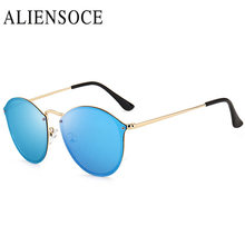 ALIENSOCE New Fashion Cat Eye Sunglasses Women Gold Frame Gradient Polarized Sun Glasses Driving UV400 Aluminium Eyewear Box