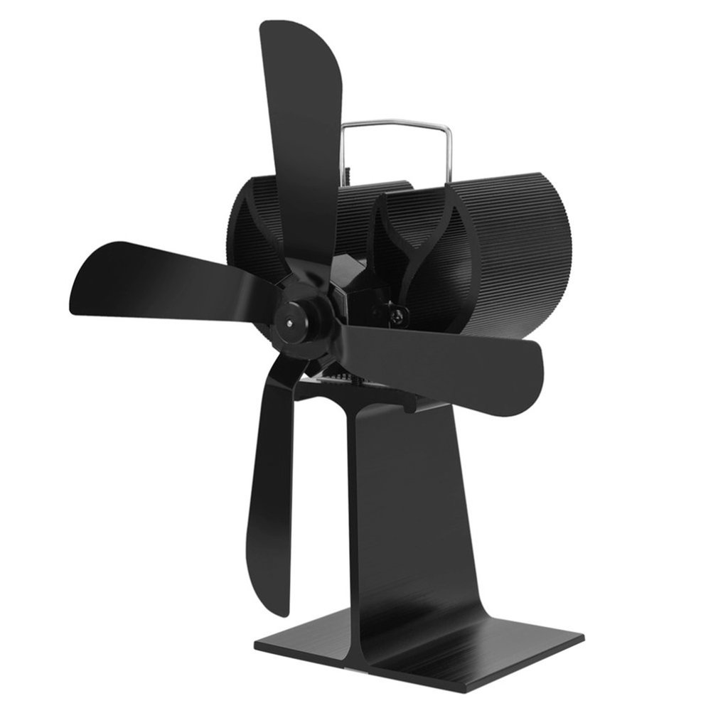 Black Heat Powered 4 Blades Stove Fan Log Fireplace Wood Burner Eco Ultra Quiet Blower No Battery or Electricity