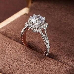 Image 4 - 固体 10 18kホワイトとイエローゴールドセンターdf色 1ctwモアッサナイトダイヤモンドヴィンテージの婚約指輪女性ブライダルウェディング