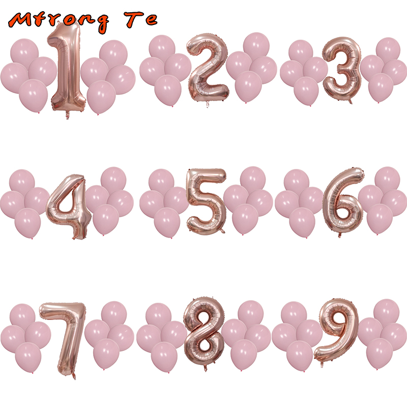 1 2 3 4 5 6 7 8 9 Years Old Happy Birthday Balloon Kids 1st Ballon Number Foil Pink Girl Blue Boy Party Globos