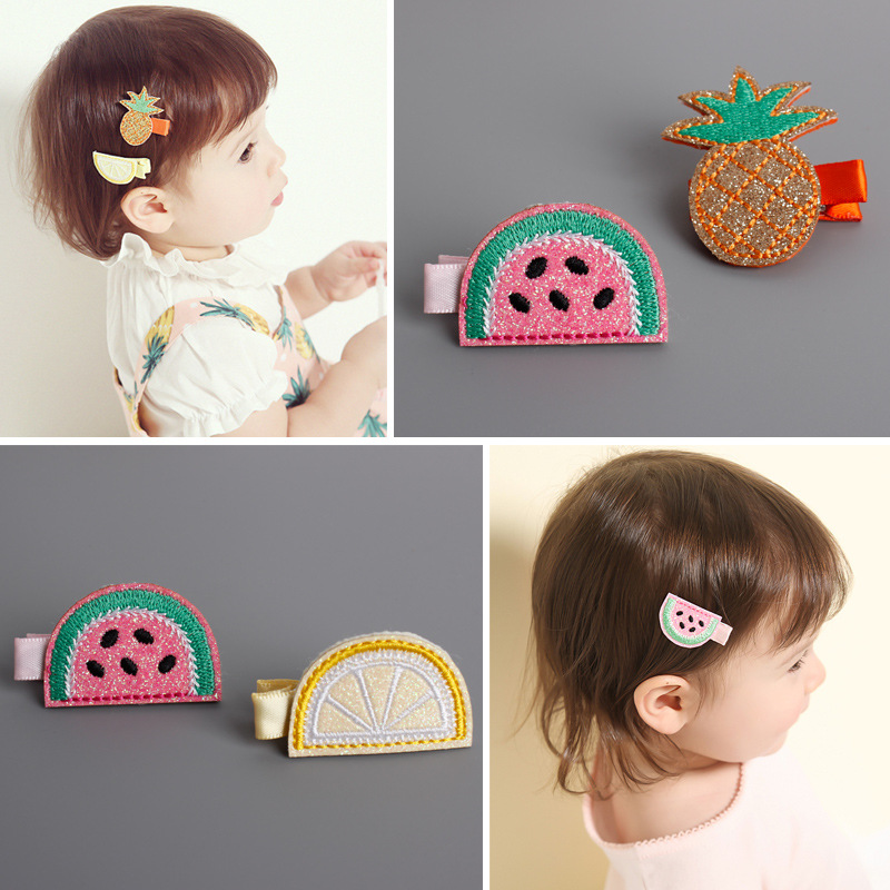 New Baby Cute Cartoon Fruit Hair Clips Girls Hair Accessories Kids Headwear Hairpins Exquisite Embroidery Children's Headdress 1x solid leaf shape metal hairpins hair clips for women hair accessories hairclips barrette hair cutting clip headwear headdress
